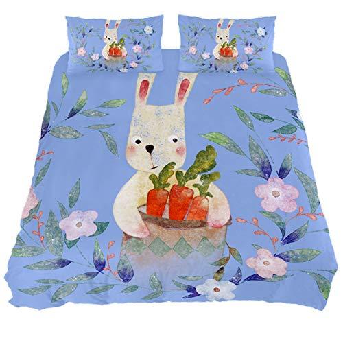 Audrey Brown Bed Sheets Sheet & Pillowcase Sets Mattress Topper Bed Soft Duvet Cover Summer Duvet Printed Duvet Cover Cartoon rabbit on blue Single