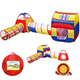iCorer Extra Large Kid Tent 4pc Pop Up Children Play Tent w/ 2 Crawl Tunnels & 2 Tents - Ball Pits for Boys Girls Toddlers for Indoor & Outdoor Use Children Playhouse w/Zipper Storage Case