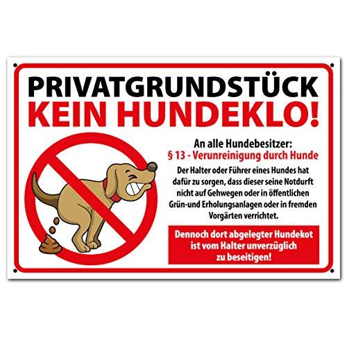 PICO signs Hochwertiges Schild aus Alu PRIVATGRUNDSTÜCK kein Hundeklo 300 x 200 mm rechteckig | Hundekot, Hundehaufen |