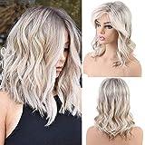 EMMOR pelucas de cabello humano largo y rubio para mujeres, mezcla de cabello natural con peluca...