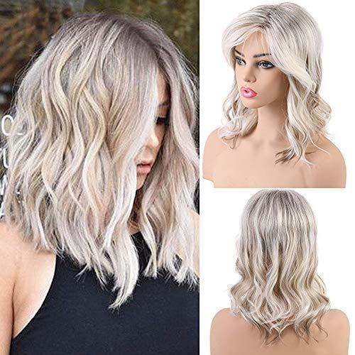 Emmor lange blonde Echthaar Perücken für Frauen - Mischung mit gesunden Kanekalon Faser natürliche Ombre lockige Perücke mit Seitenteil, tägliches Haar