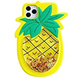 SGVAHY Unique Quicksand Case for iPhone 11 Pro, 3D Cartoon Stress Reducer Liquid Pineapple Case Soft Feeling Silicone Rubber Shockproof Protective Case (Pineapple, iPhone 11 Pro)