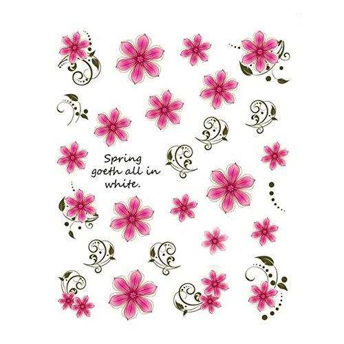 5Pcs Belle Motif Fleurs Nail Art Tips Sticker Décoration, BLE2012
