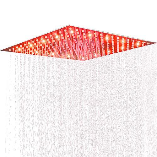 Suguword 40 * 40cm Luxus LED Einbau-Duschkopf Regendusche Deckenbrause Quadrat Überkopfbrause superflach Farbewelchseln nach Temperatur