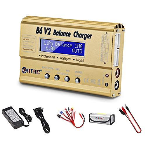 HTRC Lipo Ladegerät Entladegerät Balance Ladegerät für LiPo/Li-Ion/Life/LiHV-Akku (1-6S), NiMH/NiCd (1-15S), B6V2 80W 6A (Gold)