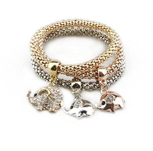 Cosanter 3 Stück Damen Armbänder Set Gold Silber Rosegold Tricolor, Stilvolles Glänzendes Armband Mit Elefant Muster Anhänger