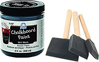 Chalkboard Paint kit - Quality Chalkboard Paint Black, with Three Foam Brushes, Wood Handles, 3 Sizes. - Create usable Chalkboard Surfaces on Furniture, Doors, Drawers and More!