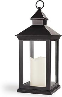 فانوس تزئینی بلند زل 14 اینچ روشن با شمع ستون LED - فانوس ضد آب در فضای باز باتری باتری با فانوس های تزئینی - عروسی تزئینی فانوس های روشن - فانوس های LED فانوس سیاه با شمع های LED