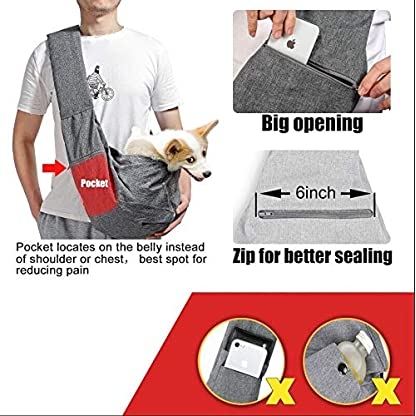 aofook Adjustable Dog Pet Sling Waterproof Carrier Bag with Soft Shoulder Pad Zippered Pocket for Outdoor Travel (Grey, Adjustment) 4