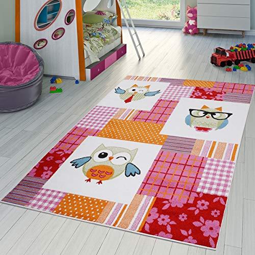 T&T Design Kinderzimmer Teppich Kariert Bunte Eulen Kurzflor Pink Grün Creme Blau Rot, Größe:80x150 cm