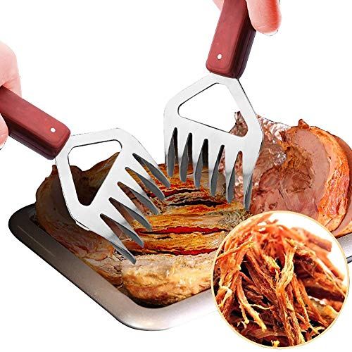 JANRON Griffes à Viande,Pattes Viande avec Manche en Bois, BBQ Viande Handler Fourchettes, Tiré Porc Shredder Griffes, Grill Fumeur Bear Paw, pour Porc Beef, Chicken, Grill (2PCS)