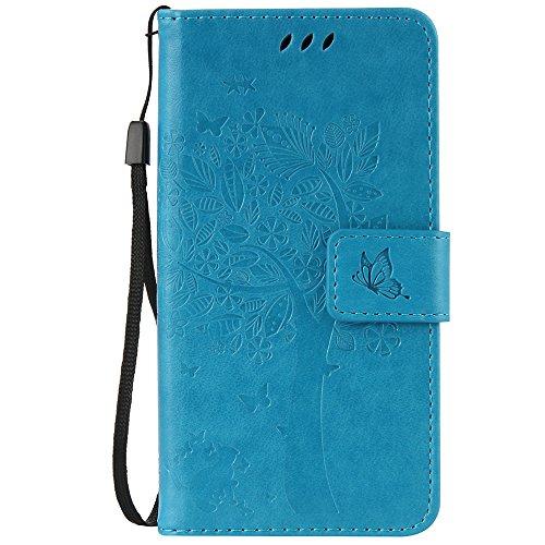 C-Super Mall-UK Asus Zenfone Go ZB452KG (4.5 inch) hülle: Geprägte Baum Katzen-Schmetterlings-Muster PU-Leder-Mappen-Standplatz -Schlag-hülle für Asus Zenfone Go ZB452KG (4.5 inch)(blau)