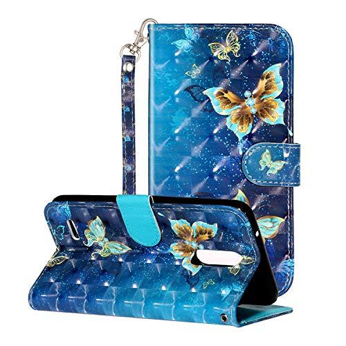 i-Hülle 3D Effect Glitzer Kompatibel mit LG K10 (2018) Handyhülle Phone Hülles PU Lederhülle Brieftasche Etui Handytasche Kartenfach Buchstil Flip Tasche für LG K10 (2018),Blauer Schmetterling