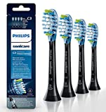 C3 Premium Plaque Control Standard Sonic Toothbrush Heads,Replacement Brush Heads Compatible with Philips Sonicare DiamondClean,FlexCare,ProtectiveClean,2 Series,HealthyWhite,4 Count-HX9044/57 (Black)