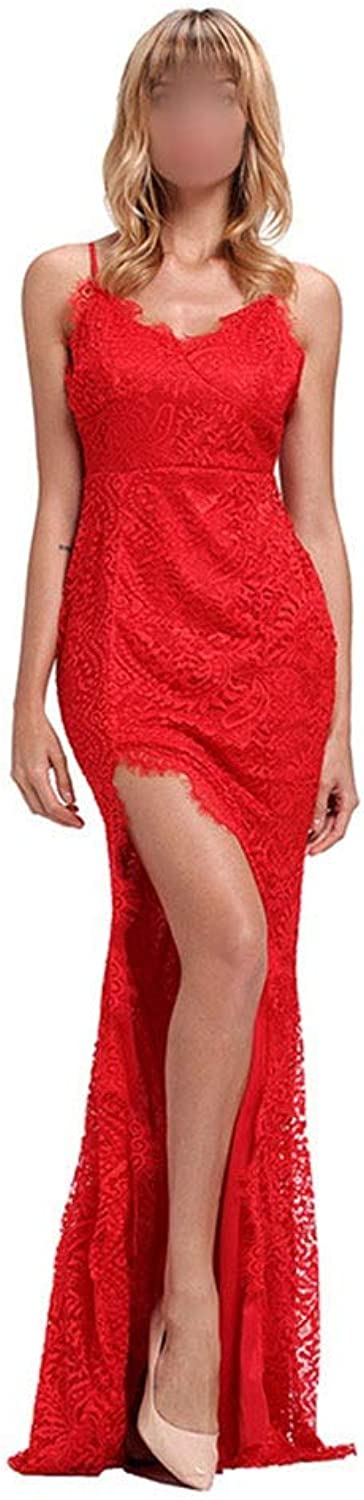 Carriemeow Women's Sexy Spaghetti Strap Lace Split Long Maxi Dress Casual Skirt (color   Red, Size   M)
