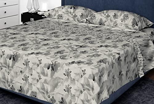 Set completo lenzuola letto stampato a fiori Made in Italy, 100% puro cotone – singolo, matrimoniale (Grigio, Matrimoniale)