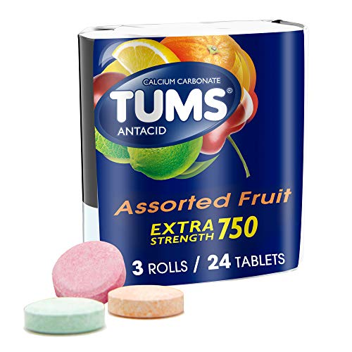 TUMS Extra Strength Assorted Fruit Antacid Chewable Tablets for Heartburn Relief, 3 rolls of 8ct