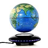 WSJ WSJFloating Globe Globo Giratorio de levitación magnética antigravedad de 8 Pulgadas con LED Mapa del Mundo Iluminado Oficina de Escritorio Decoración del hogar Educación Infantil (Color: Azul)