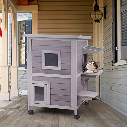 Aivituvin Outdoor Feral Cat House 2-Story Cat Cottage Kitten Shelter with Window