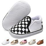 JOINFREE Baby Boys Girls Slippers Unisex Toddler First Walking Prewalker Crib Shoes White Checkered 6-12 Months