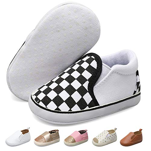 JOINFREE Newborn Infant Baby Girls Boys Canvas Sneakers Soft Non-Slip First Birthday White Checkered 0-6 Months