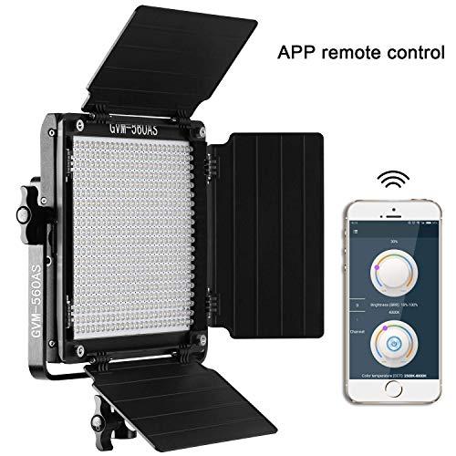 Panneau d'éclairage vidéo GVM 560 LED avec contrôle APP, kit d'éclairage vidéo Bicolore 2300K-6800K pour l'éclairage de Photographie de Studio Youtube/Panneau LED Lampe Vidéo