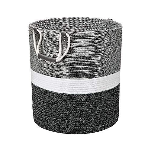 Cesto para la colada grande de algodón trenzado, con asa, color blanco con costuras negras, 35 x 40 cm, para mantas, cojines, juguetes, salón, habitación de los niños, baño