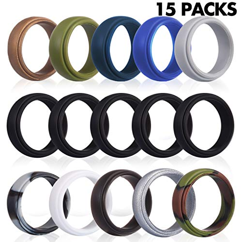 Yizerel Silicone Wedding Ring for Men, 15 Pack Rubber Bands for Men, for Workout, Exercise & Gym (15 Pack, 11 colors)