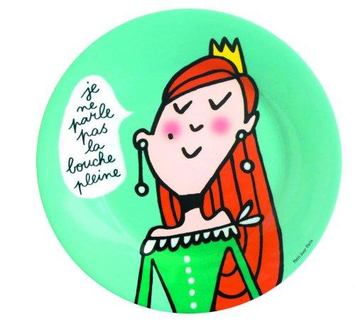 Assiette à dessert Princesse enfant Je ne parle pas la bouche pleine - Petit Jour Paris