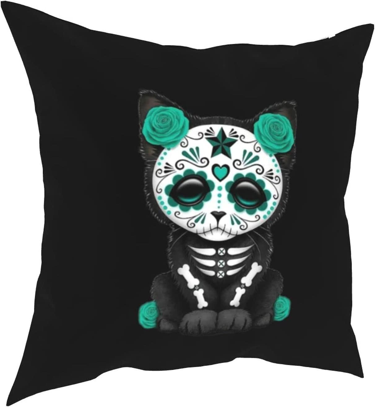 Bxuoe Sugar Skull Kitten Printed Home Decor Throw Pillowcase for Sofa Cushion Cover, Zippered and Double Sided Printing Pillow Case Covers 18X18Inch