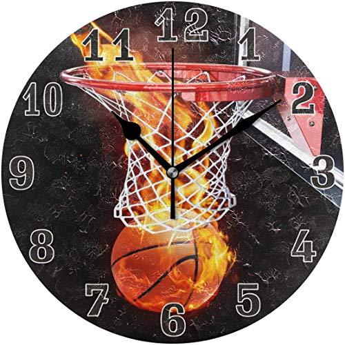 angwenkuanku Fire Basketball Sport Ball Runde Acryl Wanduhr, geräuschlos, Nicht tickend, Kunst Malerei Uhr für Kinder Mädchen Kinderzimmer Wohnzimmer Schule Home Decor