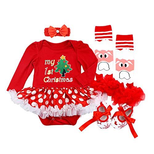 FYMNSI Conjunto de ropa para recién nacidos con tutú de princesa, vestido con lazo, calentadores de piernas, juego de 4 piezas para 0 a 18 meses