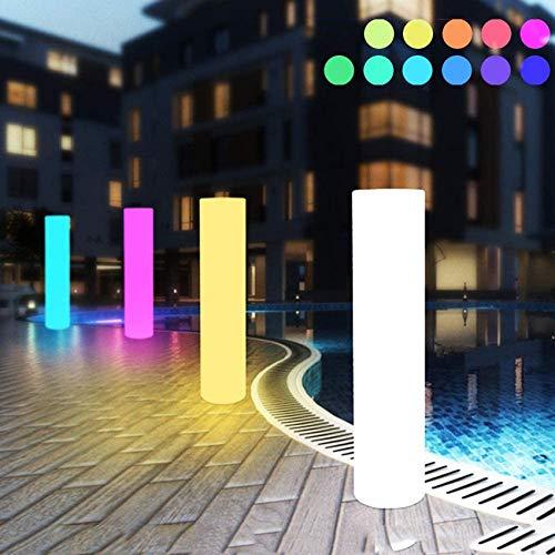 SAFGH 16 RGB Cilindro Que Cambia de Color Lámpara de pie LED para Exteriores IP65 Luces de Seguridad Impermeables Control Remoto Luces de Camino para Patio de césped, Camino, Patio, Pasarela, pisc