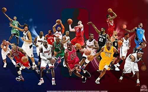 ERTYG Rompecabezas Adultos 1000 Madera niño Puzzle Estrella de Baloncesto de la NBA de Papel * Regalo para niño Rompecabezas educativos Juegos