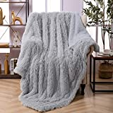 Faux Fur Throw Blanket, Super Soft Lightweight Shaggy Fuzzy Blanket Warm Cozy Plush Fluffy Decorative Blanket for Couch,Bed, Chair(50'x60', Light Grey)