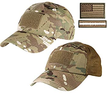 Lightbird 1 Piece Tactical Hat &1 Piece Mesh Tactical Hat with 2 Military Patches for Men  Multicam Hats