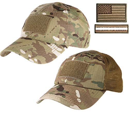 Lightbird 1 Piece Tactical Hat &1 Piece Mesh Tactical Hat with 2 Military Patches for Men (Multicam Hats)