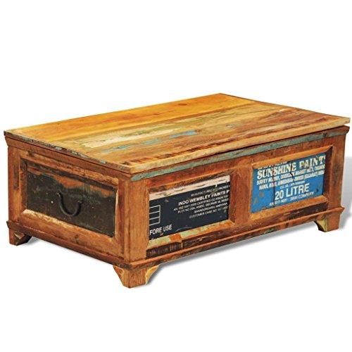 vidaXL Table Basse avec Espace de Rangement Vintage Bois Recyclé Stockage