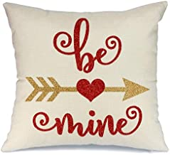 AENEY Valentines Pillow Cover 18x18 for Couch Hot Love Red Sweet Heart Be Mine Arrow Happy Valentine's Day Decorations Throw Pillow Home Decor Pillowcase Faux Linen Cushion Case Sofa A179
