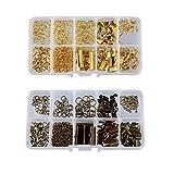 F Fityle Kit de 200 Piezas/Caja para Hacer Joyas en Colores Dorado Y Bronce / 2 Cajas con Anillos de Salto Abiertos, Cierres de Langosta, Extremos de Cordón