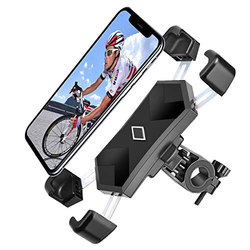 Spritech Bike Phone Mount, 360° Rotation Universal Bike Motorcycle Phone Holder with Stainless Steel Clamp Handlebar Rack Fits iPhone 11 Pro Max/X/XR/XS MAX, All 4.5'-7.2' Wide Electronic Device