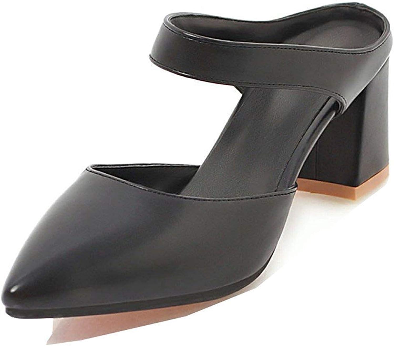 Unm Women's Closed Toe Slide Sandals - Dressy Block Mid Heels - Comfort Slip On Ankle Strap