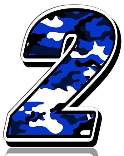 Biomar Labs® Adesivo Sticker Numero Racing 2 Gara Camouflage Mimetico Militare Blu Auto Moto Cross Rally Sport Tuning N 212