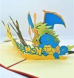 BC Worldwide Ltd handgemachte 3D-Pop-up-Karte Pokémon Taschenmonster Geburtstag Kind Kind Party Einladung Jubiläum Muttertag Vatertag Valentinstag - 4