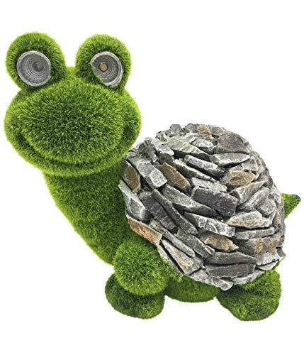 Dehner Dekofigur Schildkröte mit Solar, ca. 27.5 x 21.5 x 19.5 cm, Magnesia/Kunststoff, grün/grau