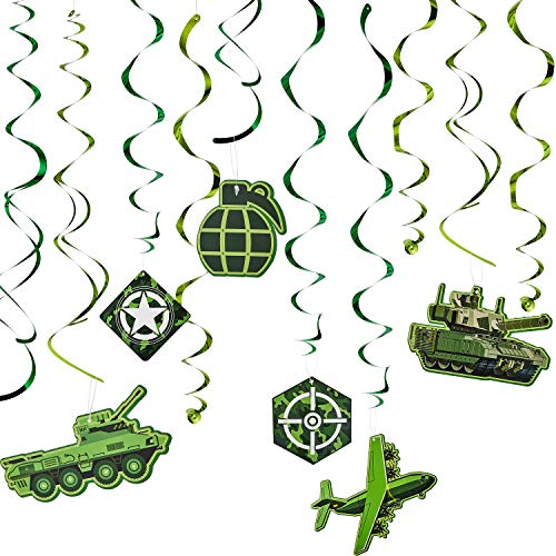 30 Pieces Camouflage Hanging Swirls Camo Spiral Hanging Decorations for Ceiling Military Camouflage Theme Party Baby Shower Birthday Supplies