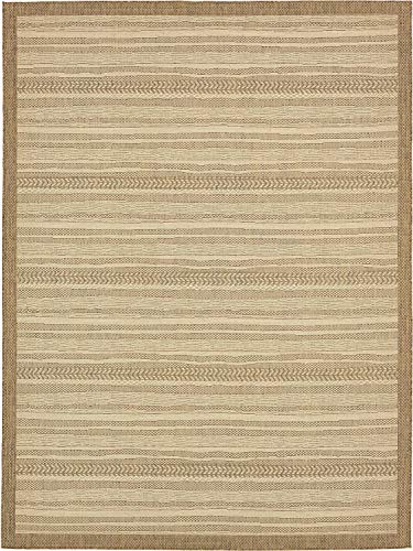 Unique Loom Outdoor Border Collection Striped Moroccan Transitional Indoor and Outdoor Flatweave Beige Area Rug (9' 0 x 12' 0)