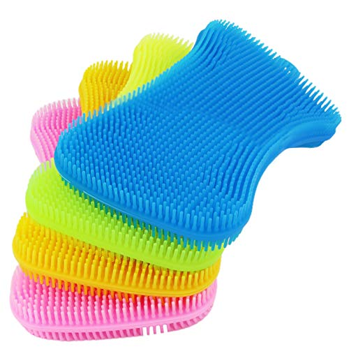 Silicone Sponge Dish Sponges for Kitchen, Washing Gadgets Tools Cleaning Scrubber, Multipurpose Better Sponges Non Stick Cleaning Mildew-Free Smart Kitchen Gadgets Brush(4 Pack)