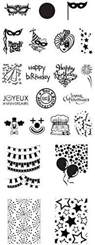 XL-stamping-sjabloon 13x5cm # CHD-FETE-003 SILVESTER, NIEUWJAR, VUERWERK, PARTY, verjaardag, LUCHTBALLON, MASSIEF, VASCHING, KARNEVALL, CLOWN, WIMPEL