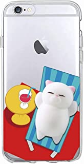 Twinlight Cute Lucky 3D Cat Kitty Squishy Cartoon Animals Seal Stress Soft Phone Case for iPhone 7 7Plus 8 8Plus X XS (E, for iPhone 7 8)